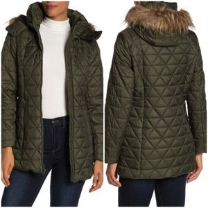 NEW Marc NY Faux Fur Trim Hood Quilted Jacket